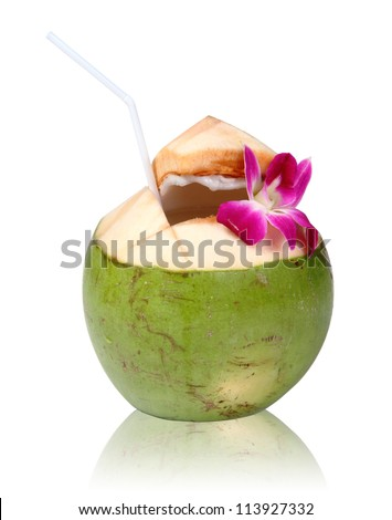 Green coconuts with drinking straw isolated, clipping path.