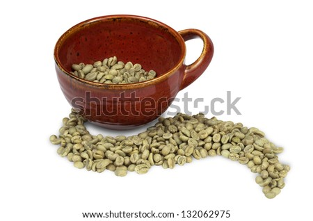Green Coffee Beans With Red Mug
