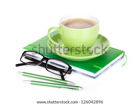 Green coffee cup, glasses and office supplies. Isolated on white background