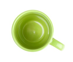 Green coffee cup. View from above. Isolated on white background
