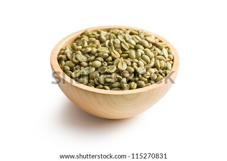 green coffee in wooden bowl on white background
