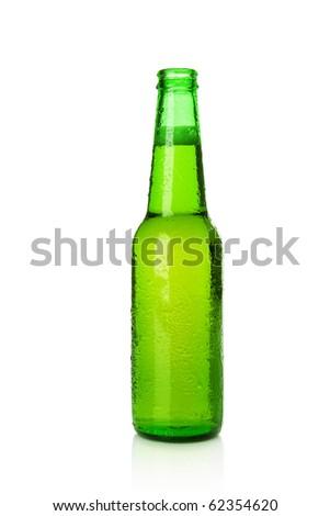 Green cold beer bottle