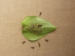 Green color Betel quid or Paan with fennel seeds and cloves