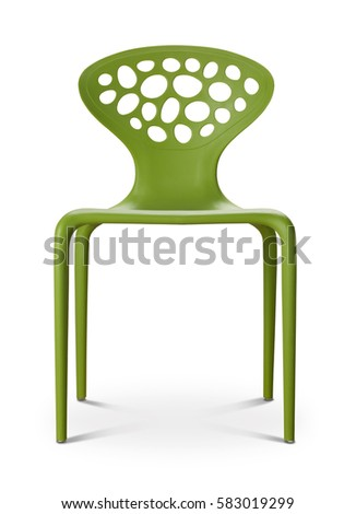 Green color chair, plastic chair, modern designer. Chair isolated on white background. Series of furniture #583019299