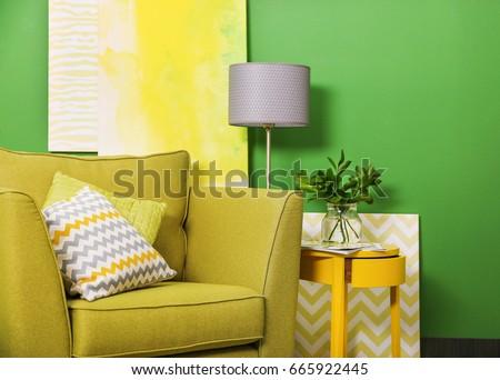 Green color in modern interior design