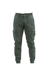 Green color of jeans pant cargo trouser sports bottom joggers isolated on white with clipping path