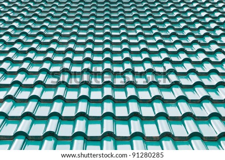 Green color roof tile