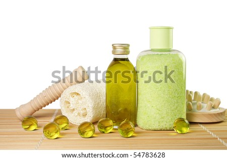 Green color spa salt and bath oil pearls