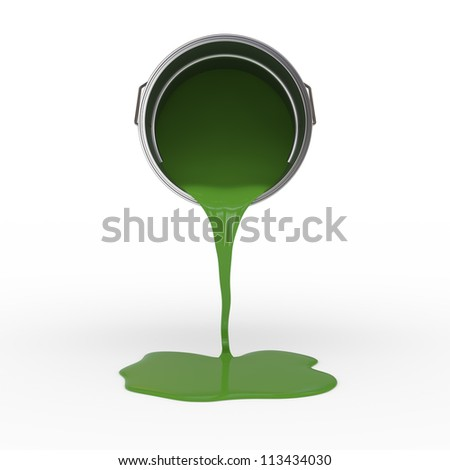 Green Colored Paint Container with Clipping Path