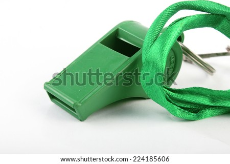 Green Colored Sports Whistle Isolated on White