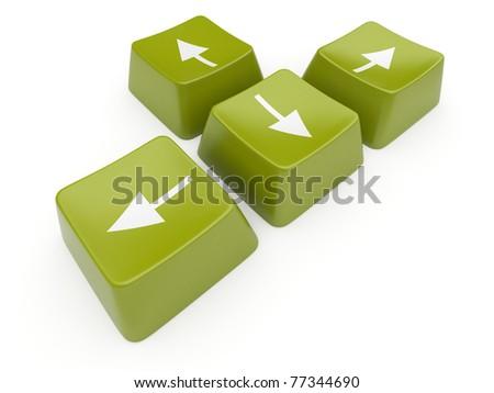 Green computer arrow key. Isolated