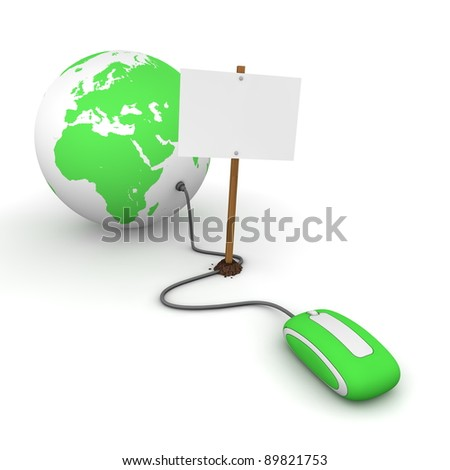 green computer mouse is connected to a green globe - surfing and browsing is blocked by a white rectangular sign that cuts the cable - empty template