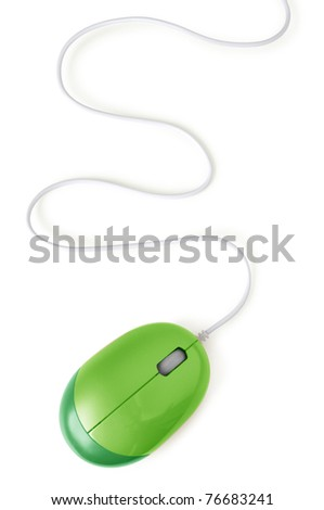green computer mouse with cable isolated on white - stock photo
