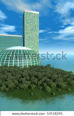 Green concept has biodome, trees on small island with futuristic buildings with blue water and sky. - stock photo