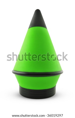 Green cone isolated on white background, Clipping path included.