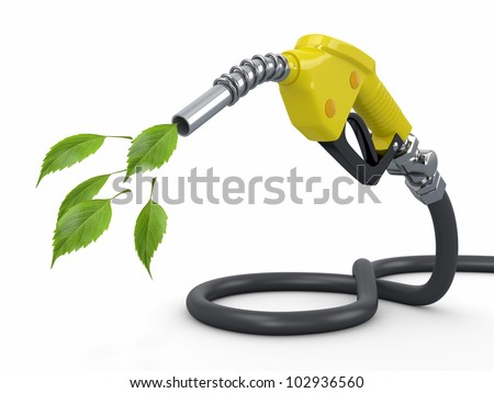 Green conservation. Gas pump nozzle and leaf. 3d