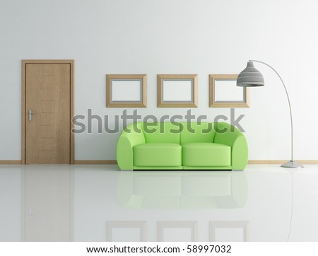 green couch in a modern interior with wooden door - rendering