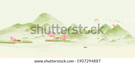 Green countryside forest scenery. Pink trees and green landscape.Oriental ink landscape painting