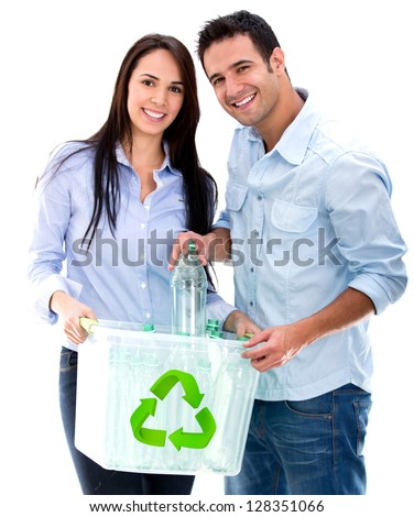 Green couple recycling bottles - isolated over a white background