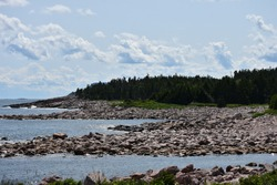 Green Cove along the Cabot Trail known for shallow bays and rocky coast