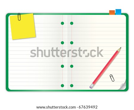 green cover blank notebook with grid line paper open two pages with pencil and stationary - stock photo