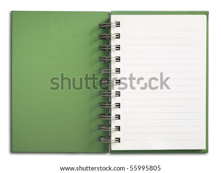 Green Cover Notebook vertical single white page