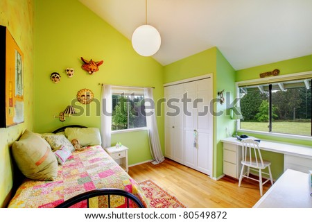 Green cozy beautiful baby girl bedroom.