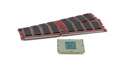 green CPU and red RAM isolated on a white background. CPU and RAM for a laptop. Set of RAM and processor. top view.