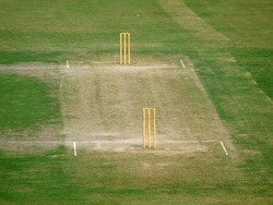 Green Cricket Playing Pitch