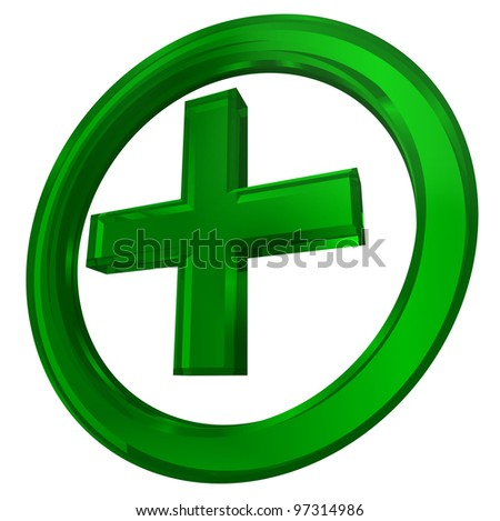 green cross in circle health symbol isolated on white background clipping path included