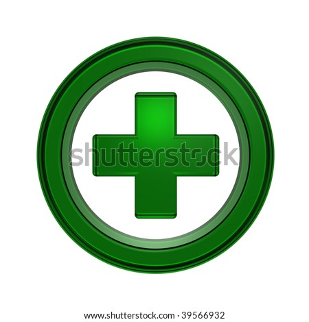 Green cross in the circle isolated on white