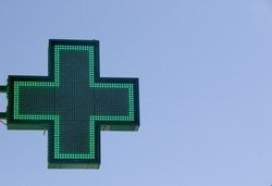 Green Cross Pharmacy sign (Farmacia in Italian)