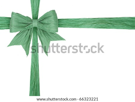 green cross ribbons for packaging with bow isolated on white