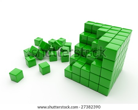 Green Cube Consisting Of Small Cubes With Incomplete Structure ...