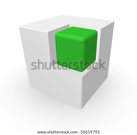 green cube in another white cube - 3d illustration