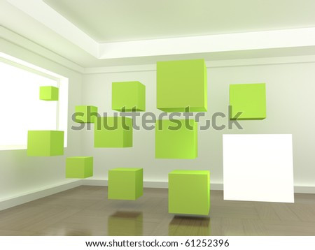 Green cubes in a room