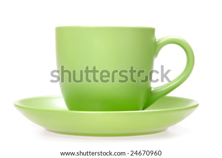 Green cup isolated on white.