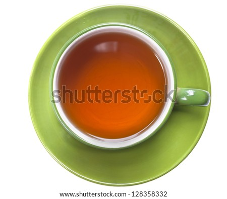 green cup of tea  isolated on  white