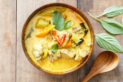 green curry chicken,thai food,Top view