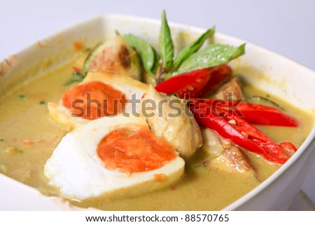 Green Curry with Fish ball and salty egg, Thai style dish