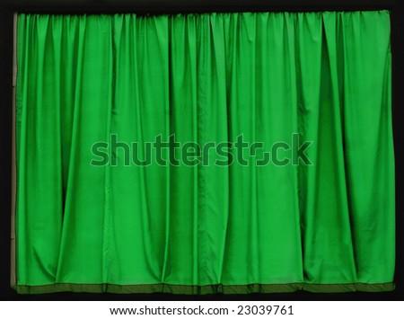 Green curtain, black frame