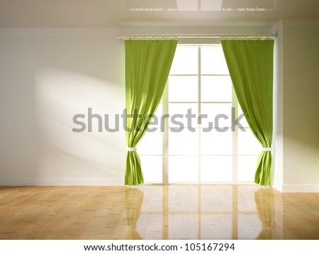 green curtains on the white wall