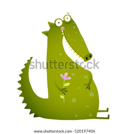 Green Cute Kids Crocodile Sitting with Flower. Happy fun watercolor style animal greeting card for children cartoon illustration.