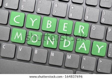 Green Cyber Monday on keyboard - stock photo