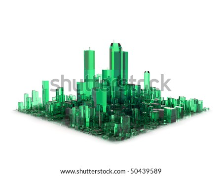 green 3D city made of glass