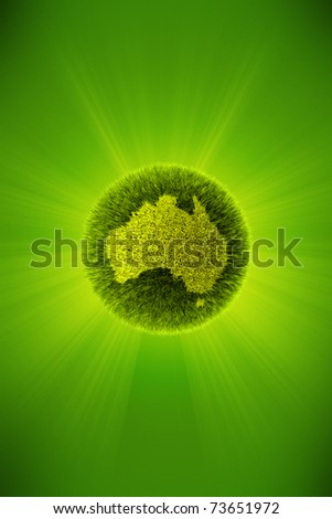 Green 3d planet concept, map of Australia