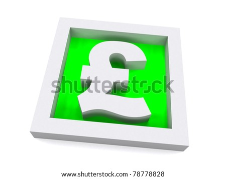 Green 3D Pound Sterling Sign