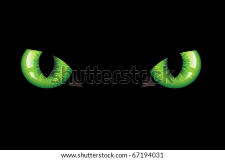 Green Dangerous Wild Cat Eyes, On Black Background