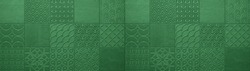 Green dark abstract vintage retro geometric square mosaic motif tiles texture background banner panorama