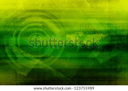 Green Dark Grunge Background Design With Technology Concept